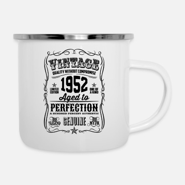 Vintage 1952 Aged to Perfection Black Print - Enamel Mug