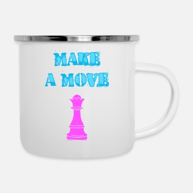 Strategy make a move, pink chess queen piece, funny pun - Enamel Mug