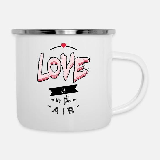 Love Mugs & Drinkware - Love is in the air - Enamel Mug white
