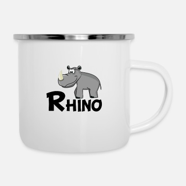 Rhinoceros Cartoon Rhino - Enamel Mug