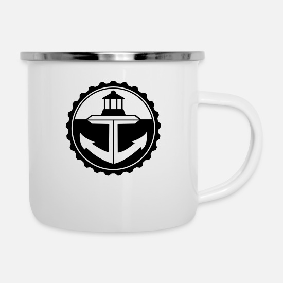 Lighthouse Mugs & Drinkware - Lighthouse Anchor - Logo - Emblem - Enamel Mug white