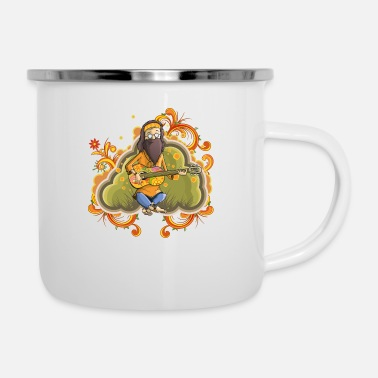 Nirvana Hippie with guitar in nirvana vector cartoon image - Enamel Mug