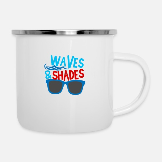 Waves Mugs & Drinkware - Waves And Shades - Enamel Mug white