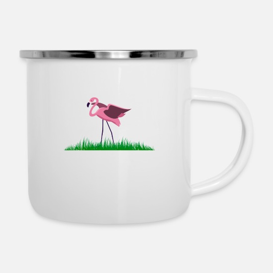 Birthday Mugs & Drinkware - pink flamingo water love colorful colorful animals - Enamel Mug white