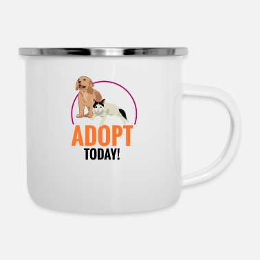 Animal Adopt Today Black - gift idea - Enamel Mug