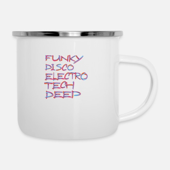 Dj Mugs & Drinkware - FUNKY DISCO ELECTRO TECH DEEP 3 - Enamel Mug white