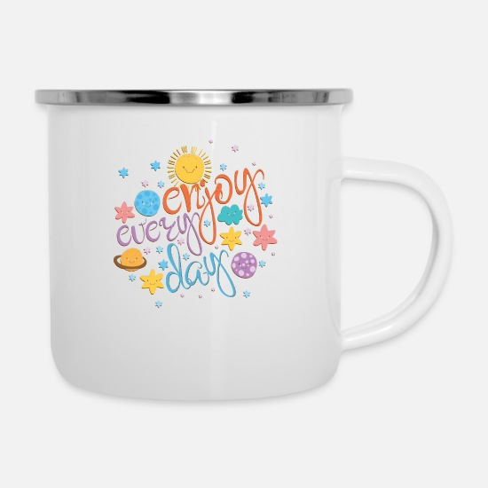 Quotes Mugs & Drinkware - Cool colorful motivational quote with space - Enamel Mug white