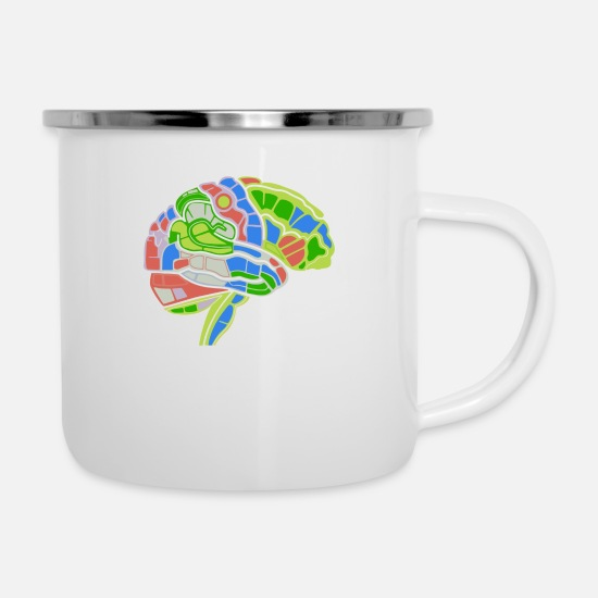 Game Mugs & Drinkware - Brain Map - Enamel Mug white