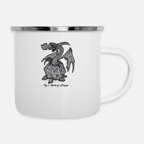 Birth Mugs & Drinkware - Birth Of A Dragon - Enamel Mug white