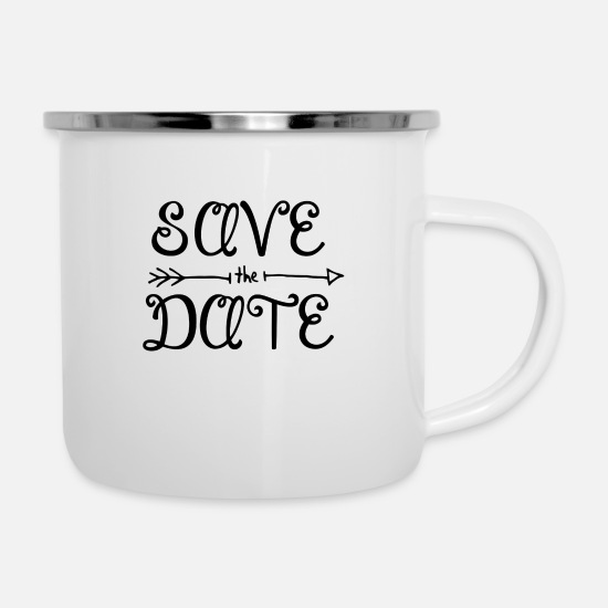 Date Mugs & Drinkware - Save the date with arrow - Enamel Mug white