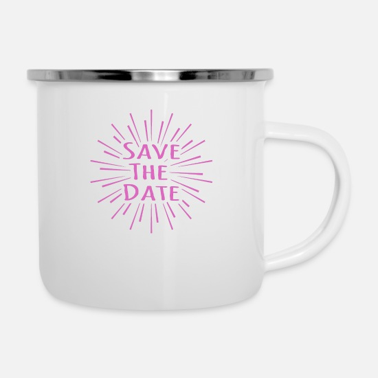 Date Mugs & Drinkware - Save the date - Enamel Mug white