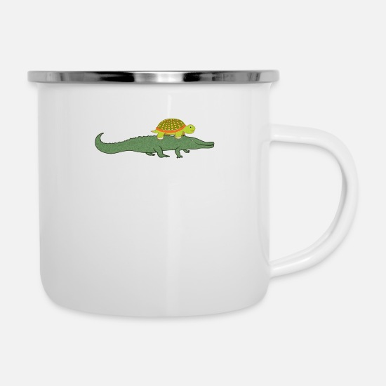 917b6237d7c Turtle Riding A Crocodile Funny Animal T-Shirt Camper Mug - white
