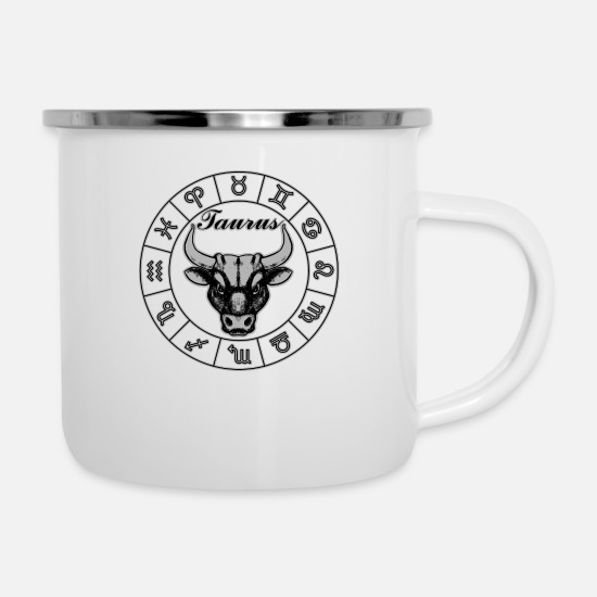 Birthday Mugs & Drinkware - Taurus Horoscope - Enamel Mug white