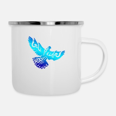 Fan Tribal Tattoo Pigeon Gift Idea - Enamel Mug