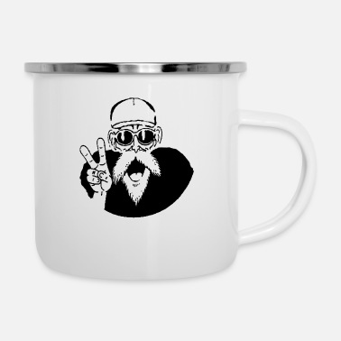 Hippy man saying peace! - Enamel Mug