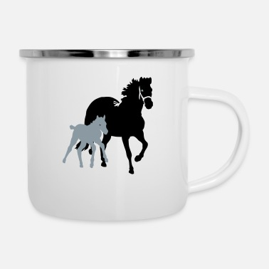 Mare mare with foal - Enamel Mug