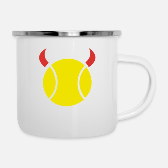 Ball Mugs & Drinkware - Tennis Devil - Enamel Mug white