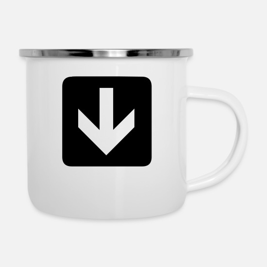 Down Mugs & Drinkware - down arrow - Enamel Mug white