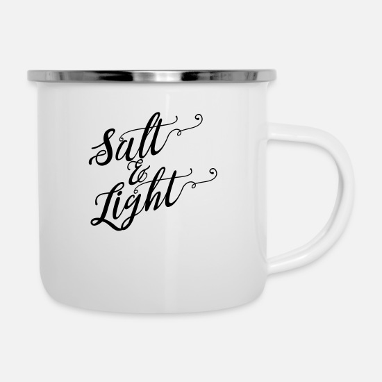 Fundraiser Mugs & Drinkware - Salt & Light Script - Enamel Mug white