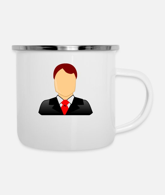 Dollar Mugs & Cups - businessman geschaeftsmann business money39 - Enamel Mug white