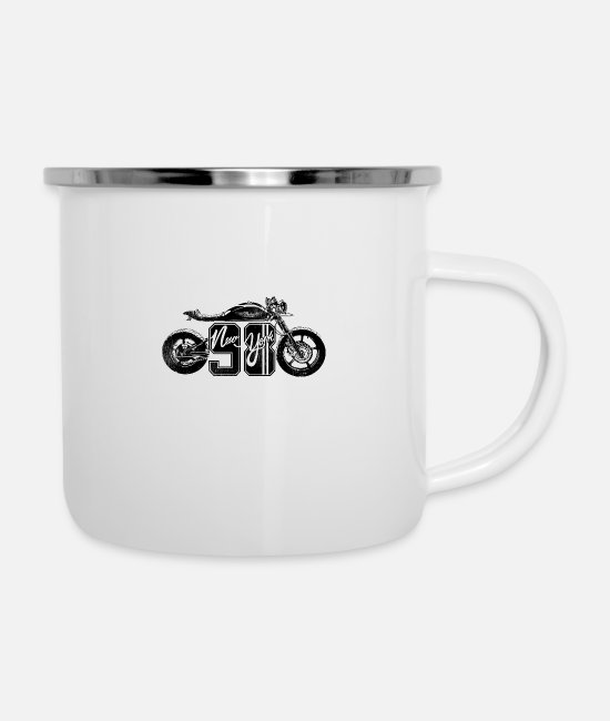 Horsepower Mugs & Cups - Motorcycle Chopper Motor Sport Biker Girl Bike - Enamel Mug white