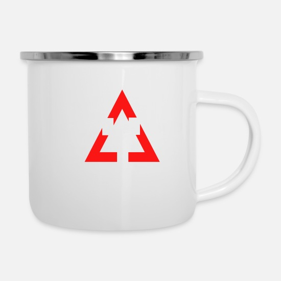 Double Mugs & Drinkware - double rectangle - Enamel Mug white