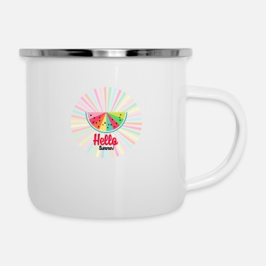 Colorcontest colorful rainbow watermelon-sun rays -Hello summer - Enamel Mug