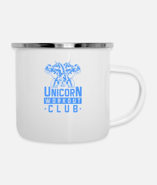 Training Mugs & Cups - Unicorn Workout Gang Gym Fitness - Enamel Mug white