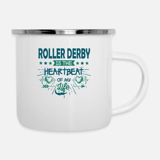 Heart Roller Skating Skater Derby Quotes Gifts Fun Camper Mug - white