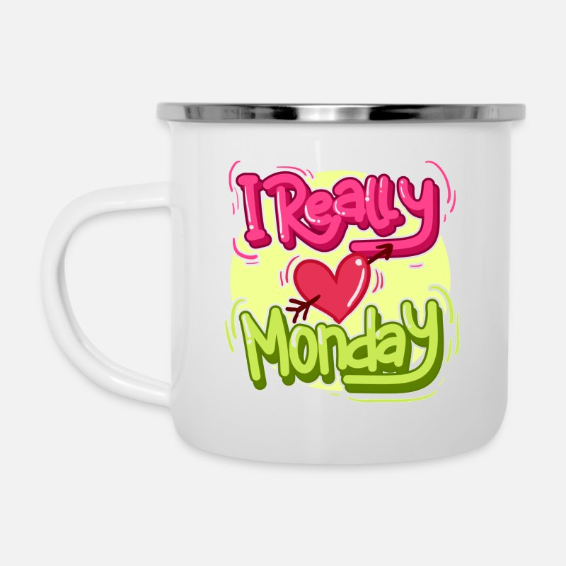 Collection Mugs & Drinkware - I really love Monday! - Enamel Mug white