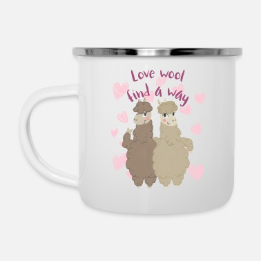 Love wool find a way | Funny Llama Hearts - Camper Mug