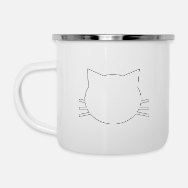 White Kitty - Enamel Mug
