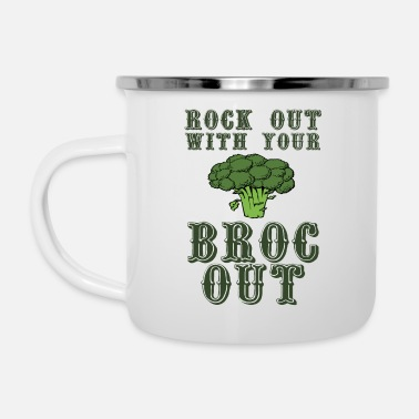 Broc Rock Out With Your Broc Out - Enamel Mug
