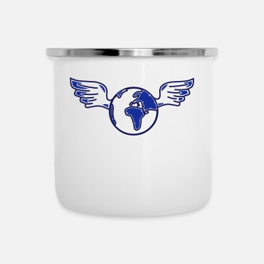 World earth with wings - Enamel Mug