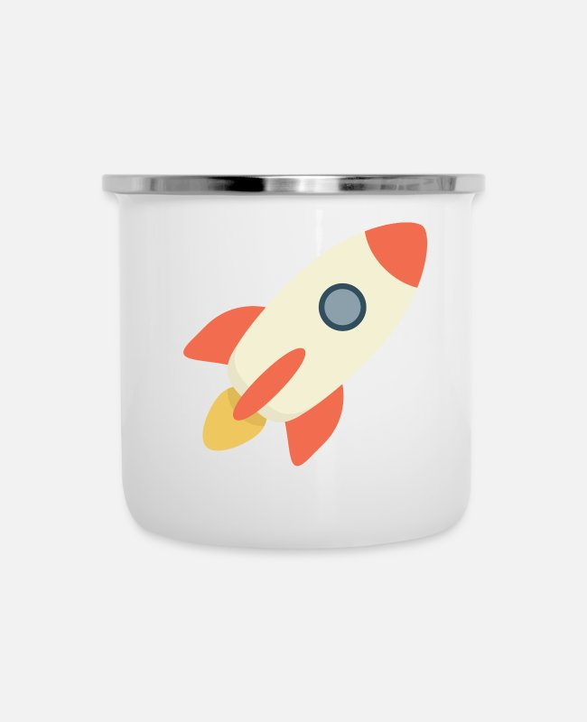 Spaceman Mugs & Cups - Rocket Blast - Enamel Mug white