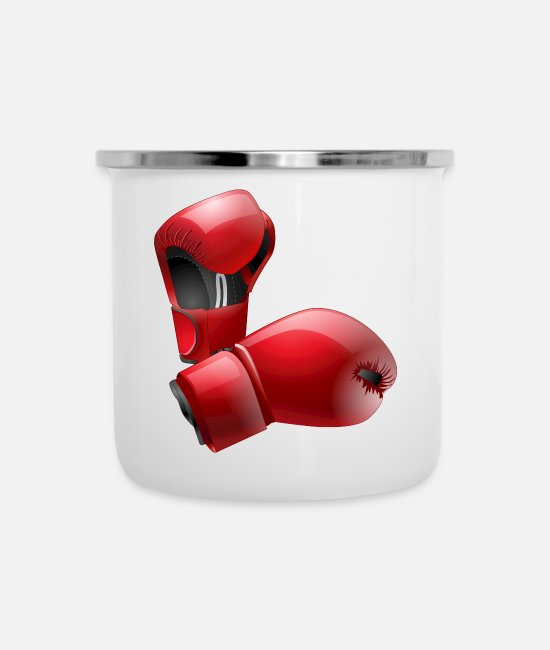 Sport Mugs & Cups - Boxing Gloves - Enamel Mug white
