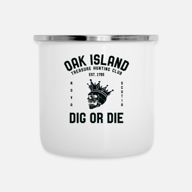Oak Oak Island Treasure Hunting Club Vintage Skull and - Enamel Mug