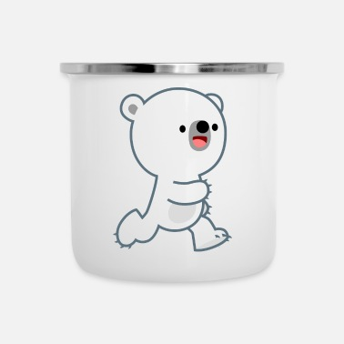 Cute Perky Polar Bear Cub by Cheerful Madness!! - Enamel Mug