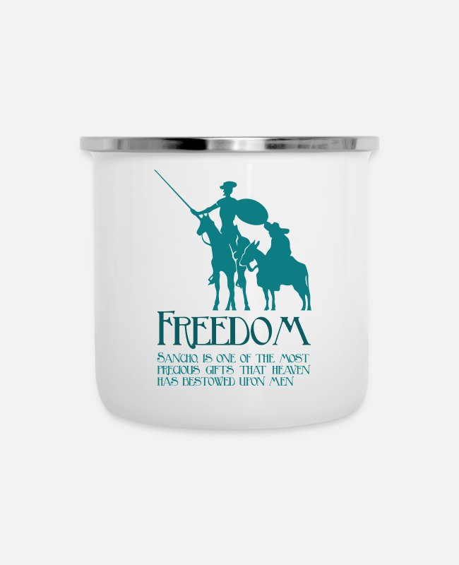 Quote Mugs & Cups - Freedom, Sancho - Enamel Mug white