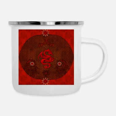 Red Awesome red chinese dragon - Enamel Mug