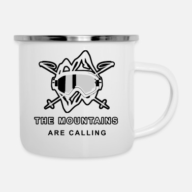 Ski saying- the mountains are callling - Enamel Mug