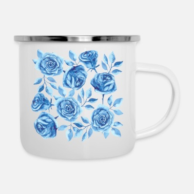 Blue Roses in Watercolor - Enamel Mug