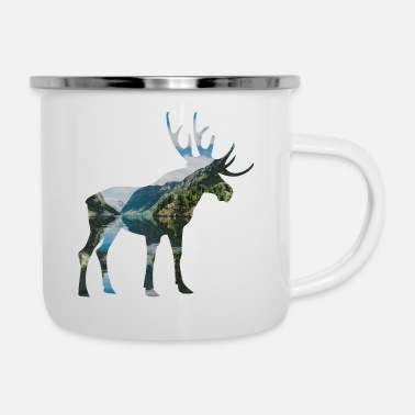 Scandinavia Double Exposure Animals Moose Funny Gift Idea - Enamel Mug