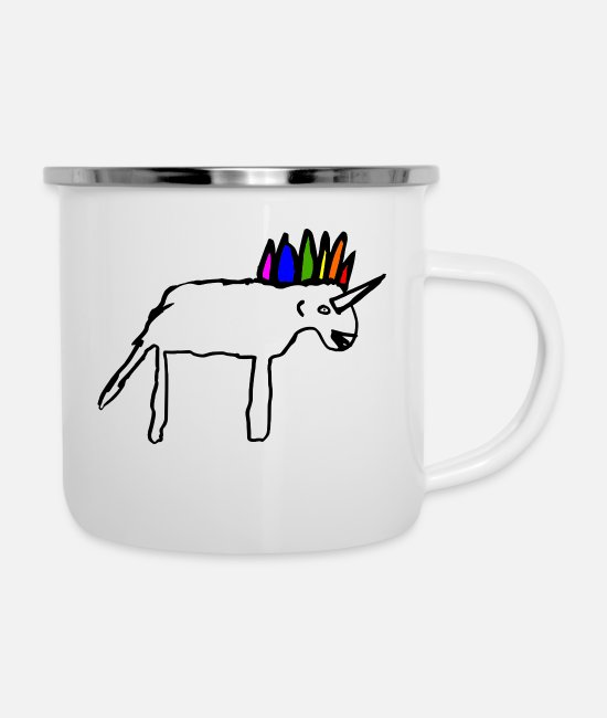 Beauty Mugs & Cups - Scribbled Unicorn, isn't she beautiful? Pure magic - Enamel Mug white