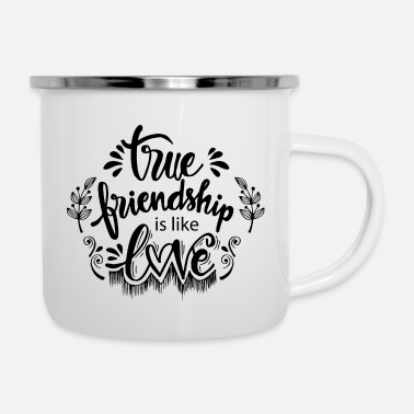 Curlicue true friendshipis like love - Enamel Mug
