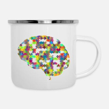 Flecked Missing Brain Jigsaw Puzzle Prismatic - Enamel Mug