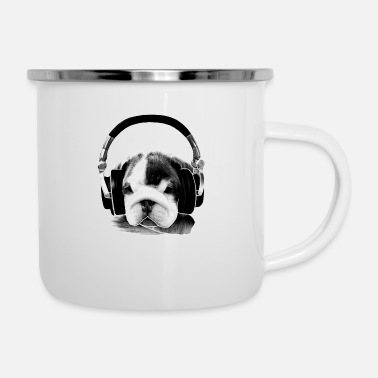 Bulldog Puppy headphone bulldog puppy - Enamel Mug