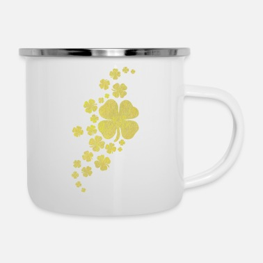 Look Charm Anniversary golden clovers lucky symbol st patrick's day - Enamel Mug