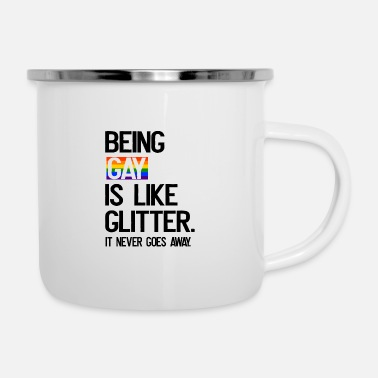 Love Being Gay Being Gay LGBT CSD Gay Pride Glitter Rainbow - Enamel Mug