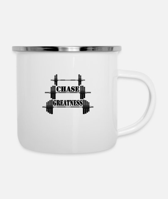 Weightlifting Mugs & Cups - chase greatness - Enamel Mug white
